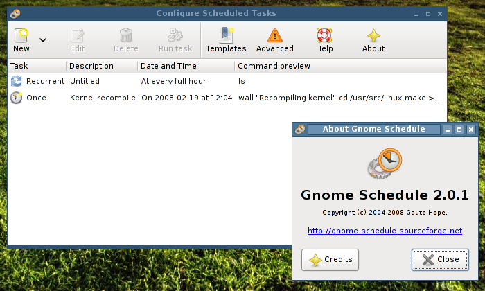 gnome schedule screenshot
